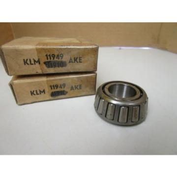 LOT OF 2 AKE KLM Tapered Roller Bearing Cone KLM 11949 KLM11949 New