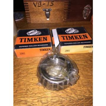 Timken 3981 Tapered Roller Bearing, Single Cone QTY 2