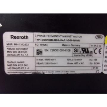 Rexroth MSK100B-0200-NN-S1-BG0-NNNN 3Ph Permanent Magnet Motor (MOT4048)