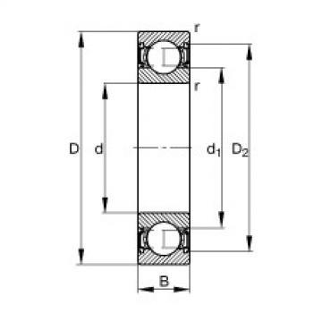 FAG Germany Deep groove ball bearings - S61900-2RSR