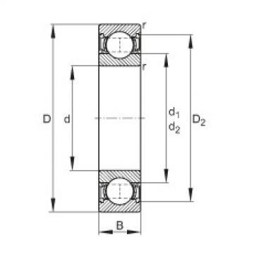 FAG Germany Deep groove ball bearings - 61800-2RSR