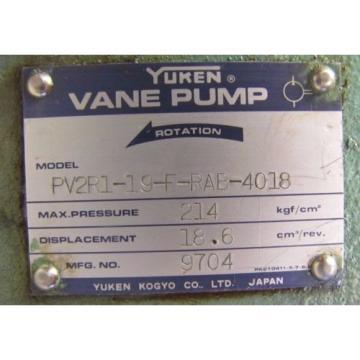 YUKEN PV2R1-19-F-RAB-4018 214 KGF/CM² 18.6 CM³/REV. 9704 VANE PUMP