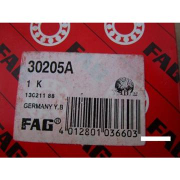 Fag 30205A Tapered Roller Bearing Cone & Cup Set(=2 SKF, NSK ,SNR,KOYO)