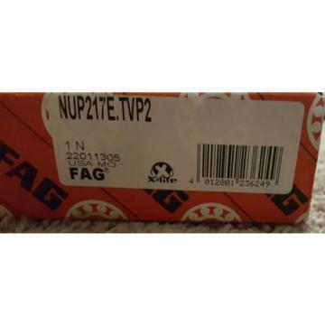Fag NUP217E-TVP2 Cylindrical Roller Bearing ,New in Box,FREE SHIPPING!!