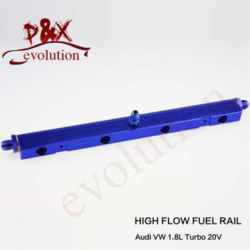 Aluminum High Flow Injector Fuel Oil Rail kit for Audi VW 1.8L Turbo 20V blue