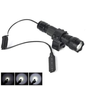 2500LM XM-L T6 LED Tactical Flashlight with Picatinny Rail Mount Pressure Switch