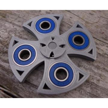 EDC Celtic / Cross Fidget Hand Spinner Toy 3D Printed Silver Blue Steel Bearings