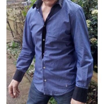 Rare   Vivienne Westwood MAN 100% Cotton Cross Bearing Orb Shirt Size II UK M