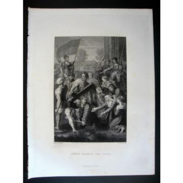 Christ Bearing His Cross - 1860 Antique Print Engraving by W.Holl after Raphael