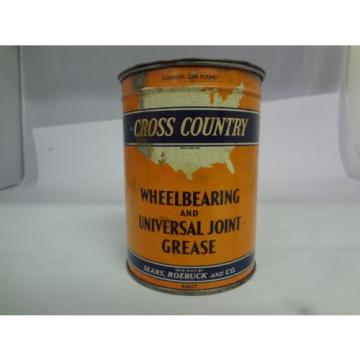 VINTAGE 1 LB CROSS COUNTRY WHEEL BEARING GREASE CAN 241-H