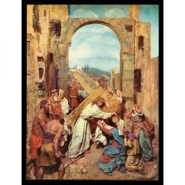 "VINTAGE   1953 ""CHRIST BEARING HIS CROSS"" ART PRINT BY DOMENICO MASTROIANNI"