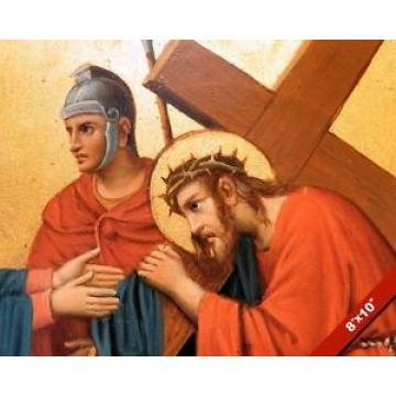 JESUS CHRIST BEARING THE CROSS PAINTING CHRISTIAN BIBLE ART REAL CANVAS PRINT