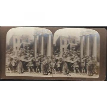 Antique   Stereoview Card - Jesus Bearing His Cross - American Stereoscopic Co