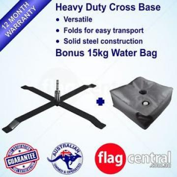 Steel Cross Base Double Ball Bearing Heavy Duty Outdoor Flag Base Plus Waterbag