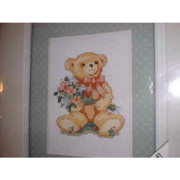 WEEKENDERS   Bearing Bouquets Bear CROSS STITCH PICTURE & MAT #03501 *NEW SEALED*
