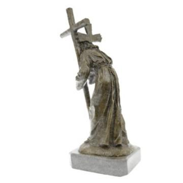 Jesus   Christ Passion Carrying Bearing Cross Signed Real Bronze Sculpture Statue