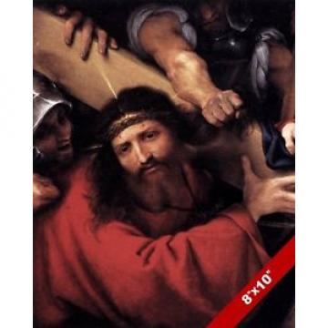 THE   LORD JESUS CHRIST BEARING CROSS PAINTING CHRISTIAN BIBLE ART CANVAS PRINT