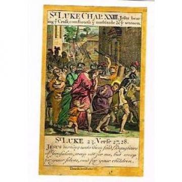 "Baskett's   Church Liturgy ""JESUS BEARING CROSS""- Hand-Colored Engraving -1713"