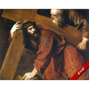 JESUS   CHRIST CARRYING BEARING CROSS PAINTING CHRISTIAN BIBLE ART CANVAS PRINT