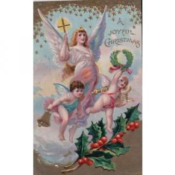 CHRISTMAS   ANGEL BEARING CROSS WITH MUSICAL CHERUBS POSTCARD H22 XMAS ALL YEAR