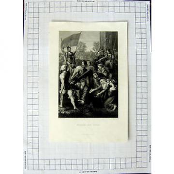 Antique Print C1790-C1900 Engraving Jesus Christ Bearing The Cross 578E381