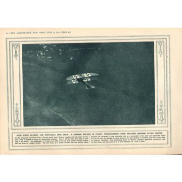 1915 WWI PRINT ~ GERMAN BIPLANE IN FLIGHT ~ BEARING INEVITABLE IRON CROSS