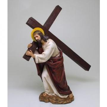 JESUS   BEARING THE CROSS FOR REDEMPTION OF SINS STATUE FIGURINE