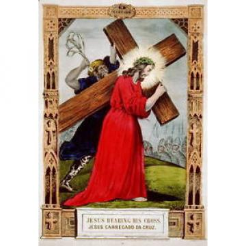 Jesus   bearing his cross / Jesus carregado da cruz,wooden cross,religious,c1848