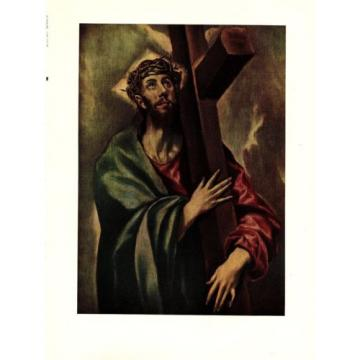 "1950 Vintage EL GRECO ""CHRIST BEARING THE CROSS FABULOUS COLOR offset Lithograph"