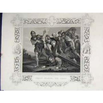 Old   Antique Print Scene Jesus Christ Bearing Cross C1860 Rogers 139B245