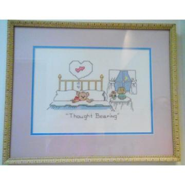 Completed   Cross Stitch Teddy Bear THOUGHT BEARING Framed Baby Nursery Children