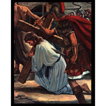 "VINTAGE   1964 ""ON TO CALVARY"" JESUS CROSS BEARING ART PRINT BY JOSEPH MANISCALCO"