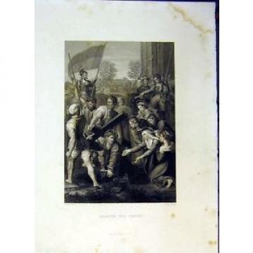 Old   Antique Print Scene Jesus Bearing Cross Bible Holy Siers Horse 638B378
