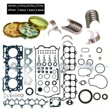 98-01 Honda Prelude 2.2L H22A4 DOHC VTec Full Set Piston Rings Main Rod Bearings