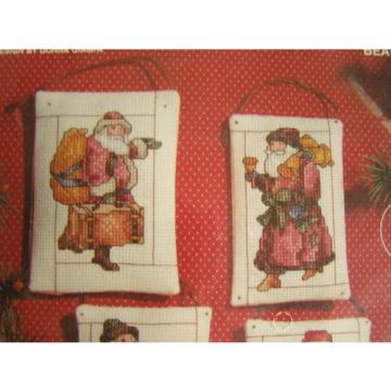 Janlynn   Christmas Cross Stitch Santa BEARING GIFTS  8 Ornaments Kit #125-92~NIP