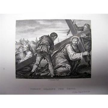 1838   BOOK PLATE PRINT PICTORAL HISTORY OF BIBLE BY VERONESE CHRIST BEARING CROSS