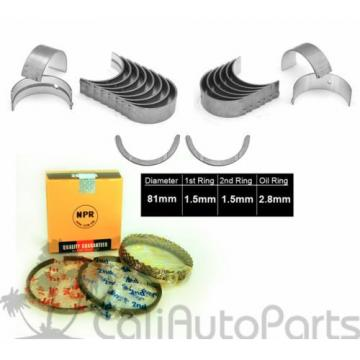 88-89   TOYOTA MR2 1.6L DOHC 4AGZE ENGINE NPR PISTON RINGS + MAIN ROD BEARINGS SET