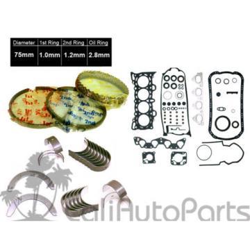 92-95 Honda Civic VTec 1.5L SOHC D15Z1 Full Gasket Set Rings Main Rod Bearings