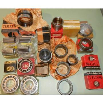Mixed 25+ Piece Lot of Bearings by McGill NTN SKF MRC Timkin Bower Baltzer etc