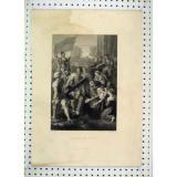 Old   Antique Print Bearing Cross Sier War Holl Engraving 433B230