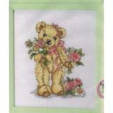 CROSS   STITCH PATTERN CHART - TEDDY BEARS - BEARING FLOWERS FOR YOU (P353)