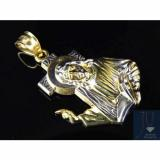 "Genuine   10K Yellow Gold Mini 3D Detailed Jesus Bearing Cross Pendant Charm 1.25"""