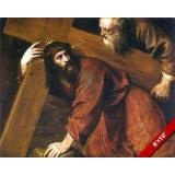 JESUS   CHRIST CARRYING BEARING CROSS PAINTING CHRISTIAN BIBLE ART CANVAS PRINT