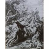 Bearing   the Cross, Rubens, Engraving by P. Pontius, Magic Lantern Glass Slide