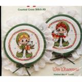 "Bearing   Gifts Ornament Set (2)  with 4"" Hoop Frames - Counted Cross Stitch Kit"