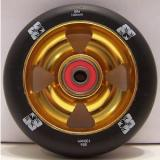 ENVY   100MM 4 SPOKE CROSS WHEEL 88a BLACK GOLD KICK SCOOTER NEW W ABEC 7 BEARINGS