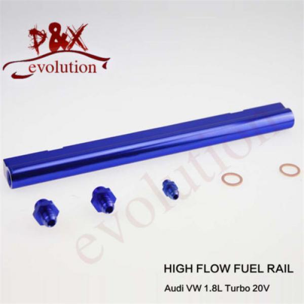 Aluminum High Flow Injector Fuel Oil Rail kit for Audi VW 1.8L Turbo 20V blue #1 image