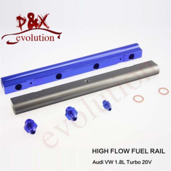 Aluminum High Flow Injector Fuel Oil Rail kit for Audi VW 1.8L Turbo 20V blue #2 image
