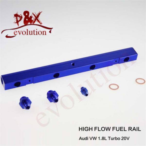Aluminum High Flow Injector Fuel Oil Rail kit for Audi VW 1.8L Turbo 20V blue #3 image