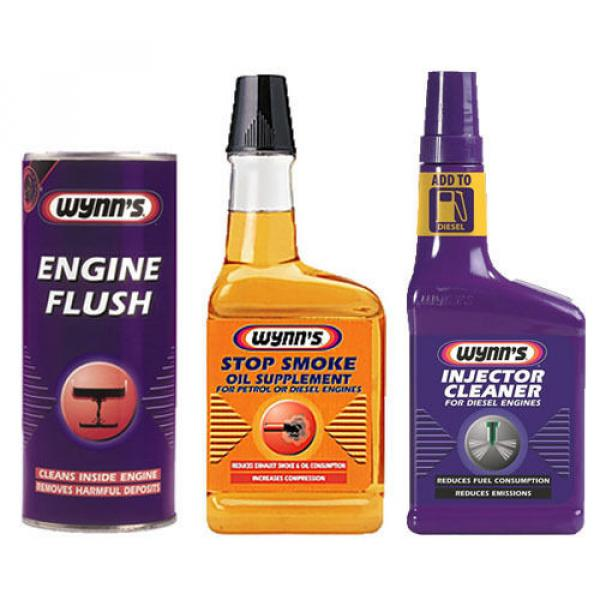 WYNNS 3 Pack ENGINE FLUSH + OIL STOP SMOKE + DIESEL INJECTOR CLEANER TREATMENT #1 image